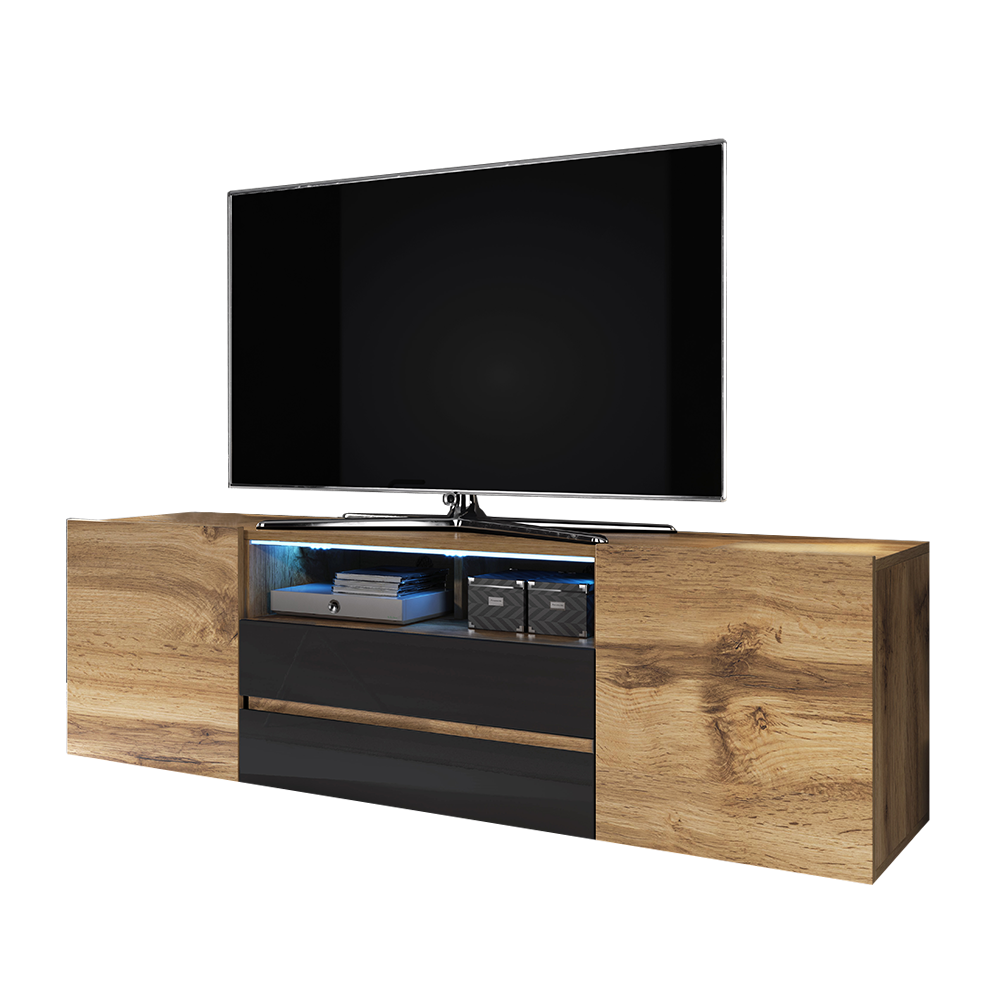 Selsey BROS - Meuble tv / Banc tv (137 cm, chêne wotan / noir brillant, avec LED) 3