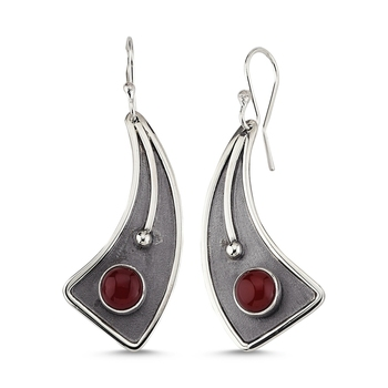 Silver 925 Sterling Red Agate Stone Handwork Earrings