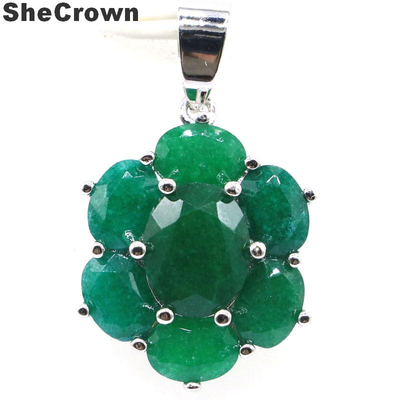 27x17mm Deluxe Real Green Emerales Woman's Wedding 925 Silver Pendant