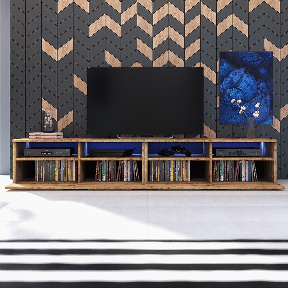 Selsey PHIRIS DOUBLE - Meuble tv / Banc tv (2x100 cm, chêne wotan, éclairage LED) 2