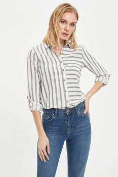 DeFacto Woman Spring Striped Shirts Women Casual Black White Striped Top Shirts Long Sleeve Shirt-K3563AZ20SP plus rolled tap sleeve surplice wrap striped top