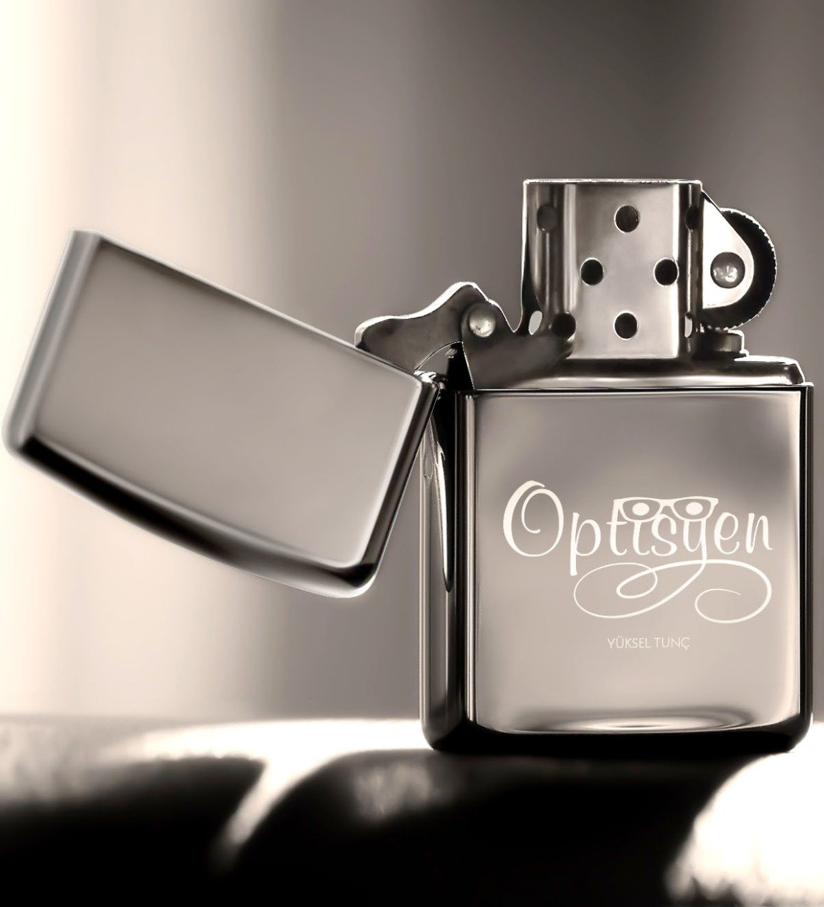 Personalized Optician Gasoline Silver Gray Metal Lighter 1|Cigar Accessories| |  - title=