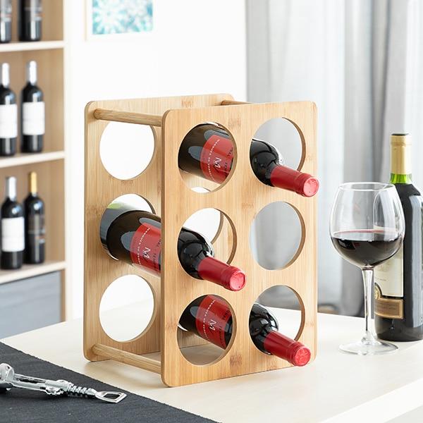 Bottle Rack Bamboo (6 Bottles)