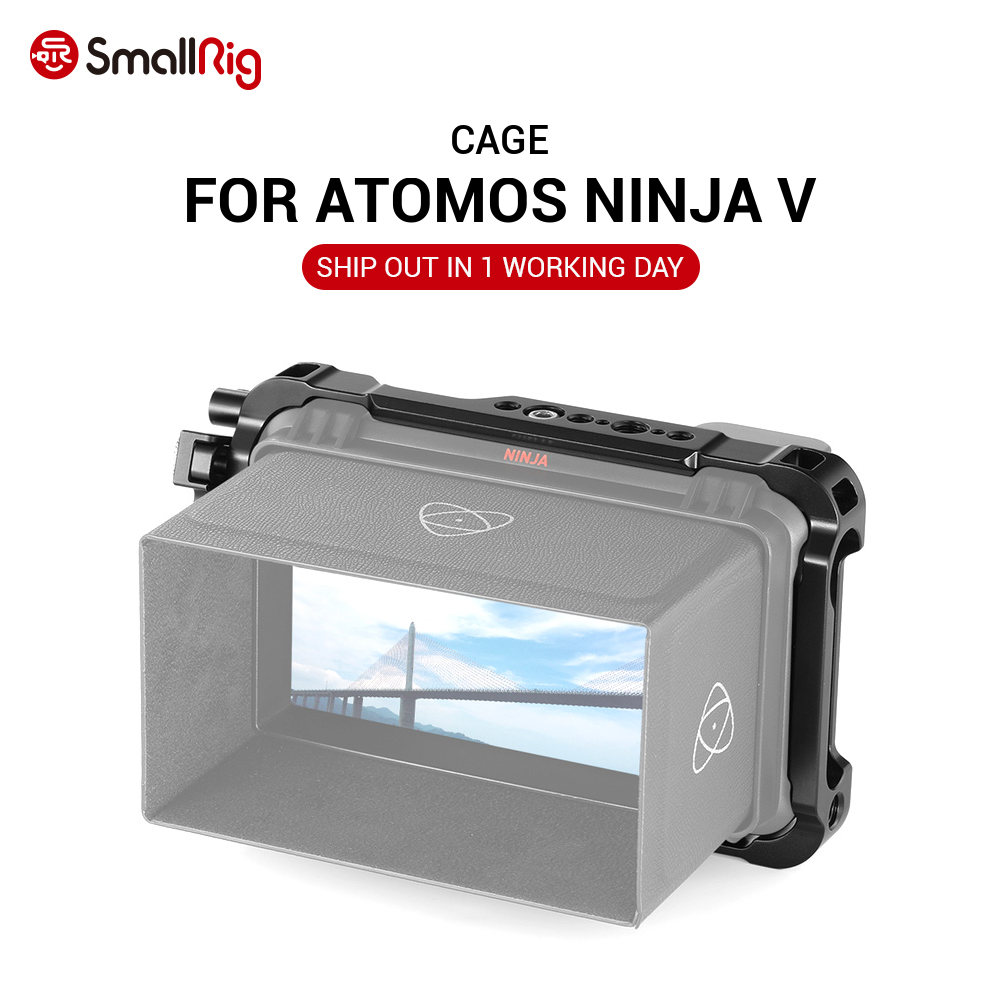 Jaula de Monitor de Director SmallRig para Atomos Ninja V con rieles NATO en la parte superior e inferior 2209