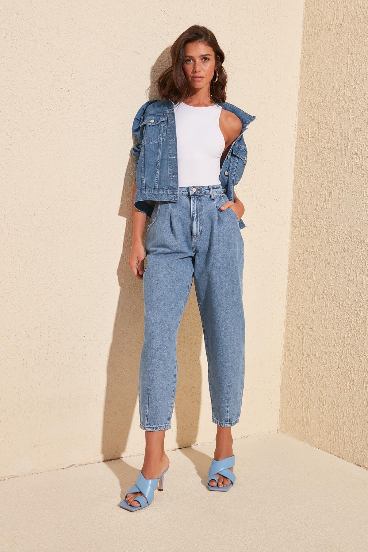 Trendyol Pleated High Waist Balloon Jeans TWOSS20JE0282