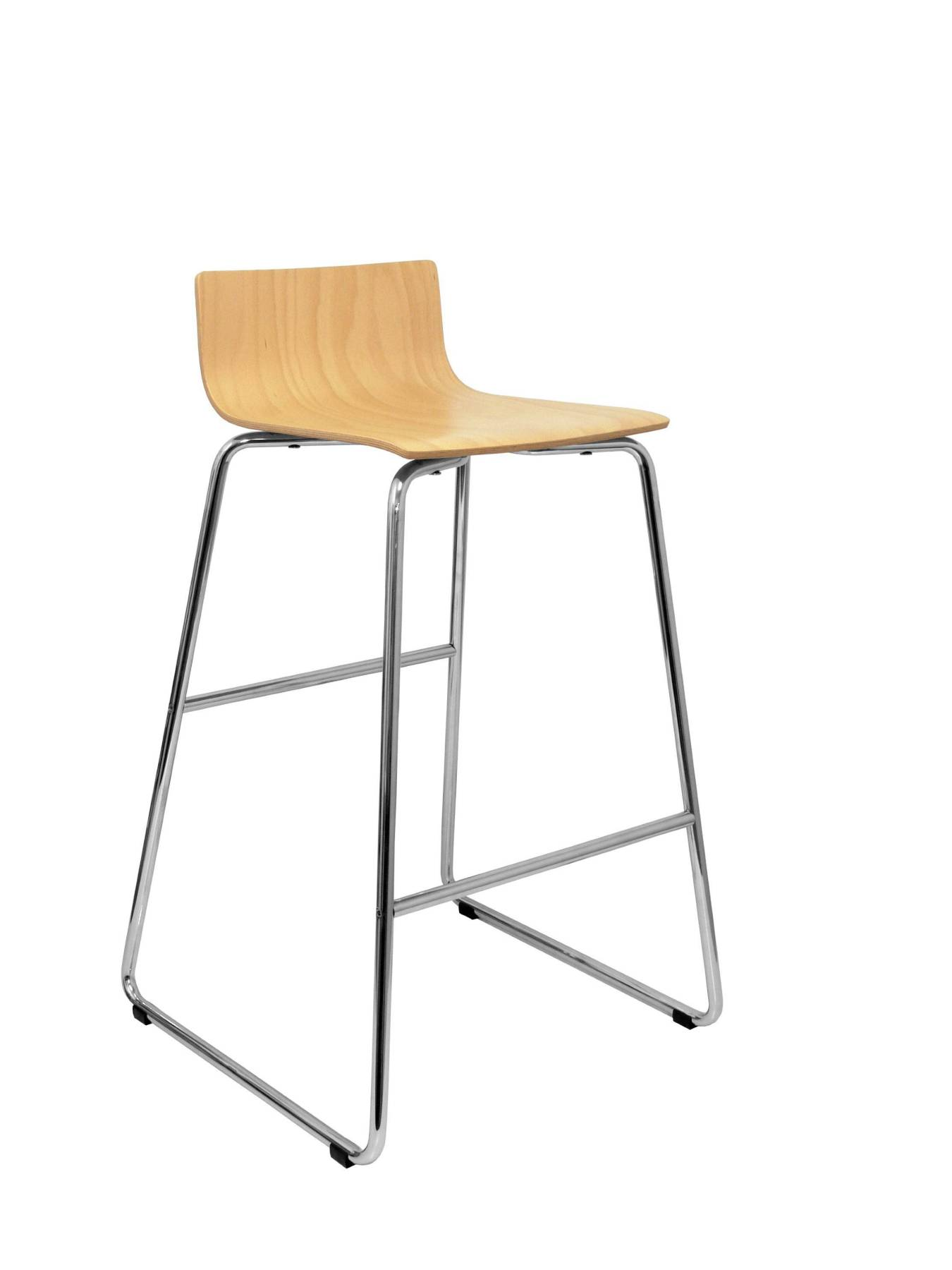 Stool Vending With Chrome Bold And Dipstick Foot Pegs-up Seat Structure From Colored Wood Beech TAPHOLE AND CURLED Model