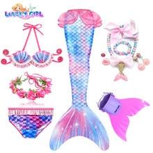 Lovelygirl nova chegada meninas natação sereia cauda traje cosplay sereia maiô meninas presente de aniversário colar monofin