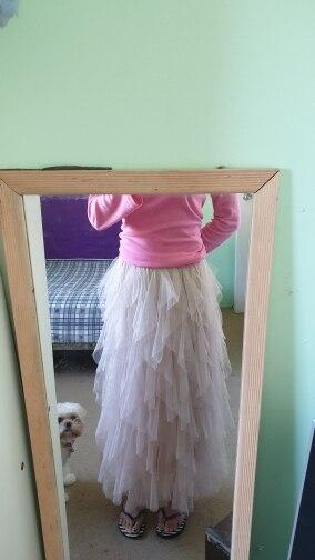 Tutu Tulle Skirt Women Long Maxi Skirt Spring  Korean Black Pink High Waist Pleated Skirt Female photo review