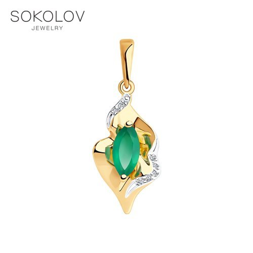 Pendant SOKOLOV Gold Agate And Rhinestone Beads Fashion Jewelry 585 Women's Male