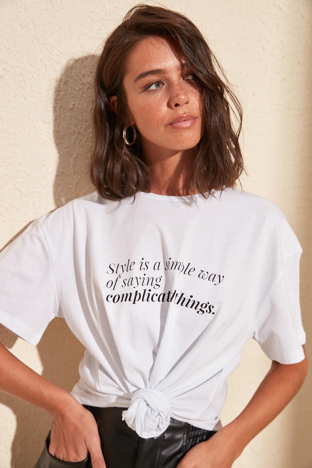 Trendyol Printed Asymmetrical Knitted T Shirt TWOSS20TS0220