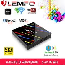 LEMFO TV Box أندرويد 9.0 H96 MAX + 4GB RAM 64GB 32GB H.265 4K HDMI 2.0a 2.4G/5G WiFi ثلاثية الأبعاد Netflix يوتيوب مشغل جوجل مجموعة صندوق