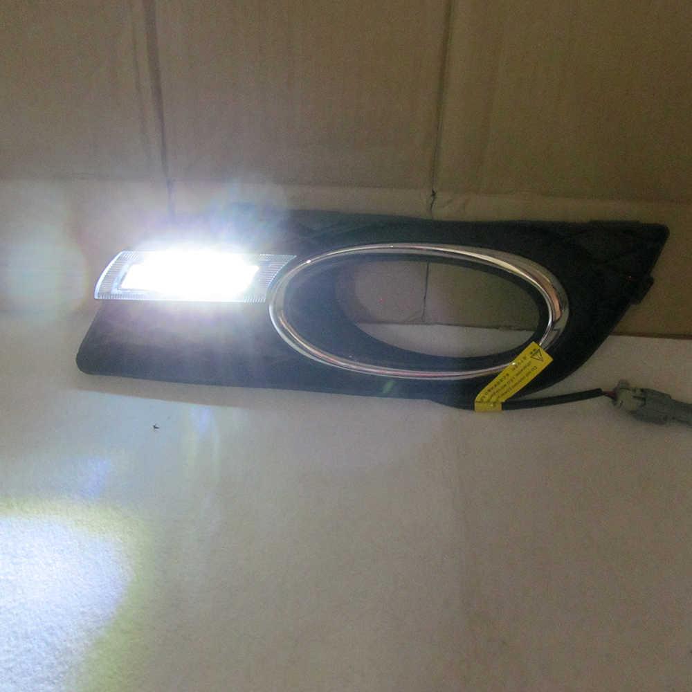 ECAHAYAKU 12 فولت لهوندا سيفيك 9TH 2012 2013 2014 DRL LED العلوي القيادة النهار تشغيل ضوء LED الضباب مصباح التتابع تصفيف السيارة