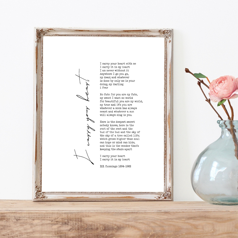 ee Cummings Poems Typography Canvas Poster Minimalist Quote Prints Scandinavian Art Painting Picture Home Bedroom Wall Decor image