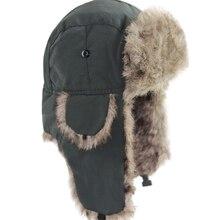 Мужская и женская Русская Шапка-ушанка, теплая зимняя Лыжная шапка с ушками, одноцветная Пушистая Шапка из искусственного меха, головной убор