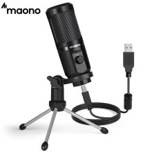MAONO USB Microphone with Mic Gain,192Khz/24Bit Podcast PC Computer Condenser Mic for Recording Gaming Streaming Youtube PM461TR