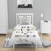 Mais 4 pçs rosa branco unicórnio cavalo nordec 3d impressão algodão cetim crianças capa de edredão conjunto cama fronha folha|Capa de edredom| |  -