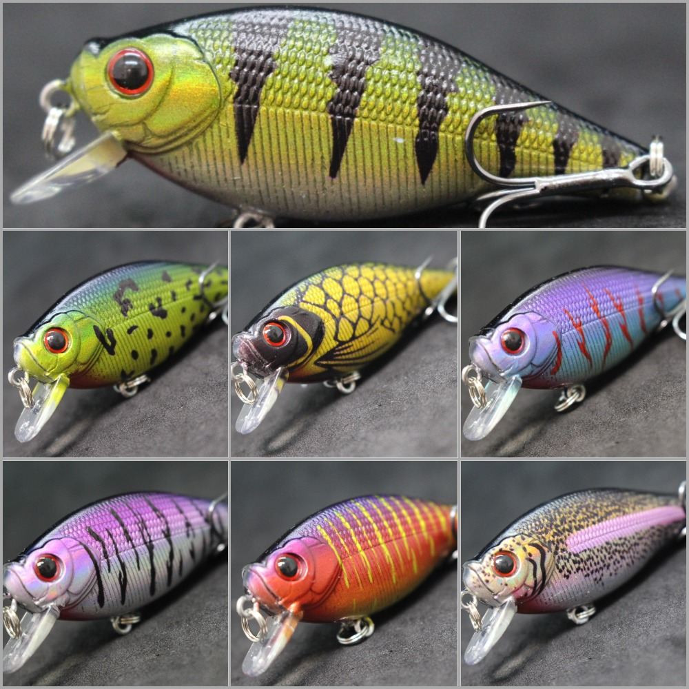 WLure 6.5cm 7.4g Flat Body Wide Wobble Musky Bait Floating Tank Tested Hard Bait Variant Colors Fishing Lure C547