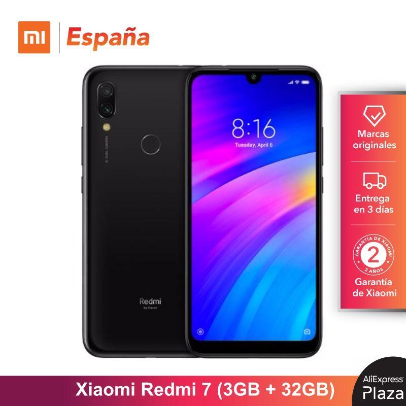 Xiaomi Redmi 7 (32GB ROM, 3GB RAM, Batería de 4000mah, Android, Nuevo, Libre) [Teléfono Movil Versión Global para España] redmi7 Original honor 8C 6.26in reconocimiento facial Snapdragon 632 Octa core frente 8.0MP dual cámara trasera 4000 mAh 3 tarjetas ranura
