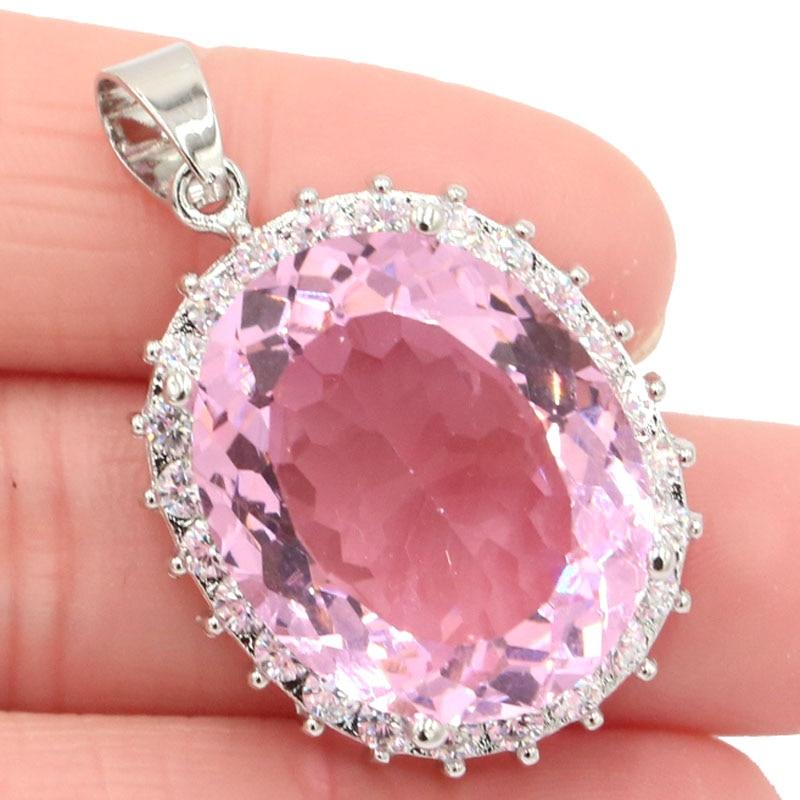 36x23mm Beautiful Big Oval Gemstone Pink Kunzite CZ Ladies Present  Silver Pendant