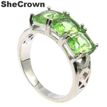 23x9mm 2019 Simple Style Elegant Created Green Tsavorite Garnet Gift For Woman's Silver Rings