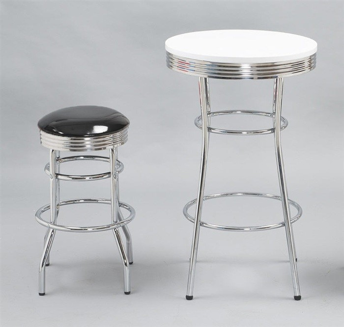 Stool CHIC, Plating, Similpiel Black