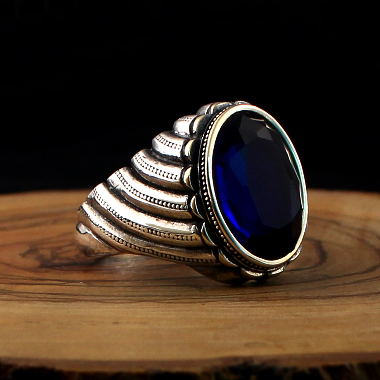 925 Sterling Silver Ring for Men with Blue Zircon Stone (Made in Turkey)