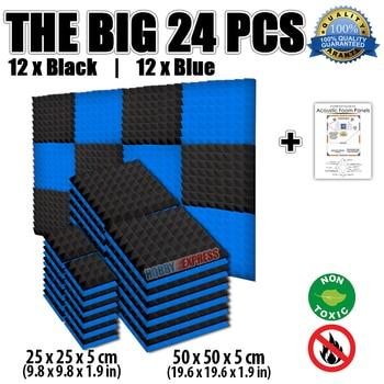 Arrowzoom Blue and Black Bundle Pyramid Acoustic Foam Panel Sound Absorption Tiles 24 pcs Pack KK1034