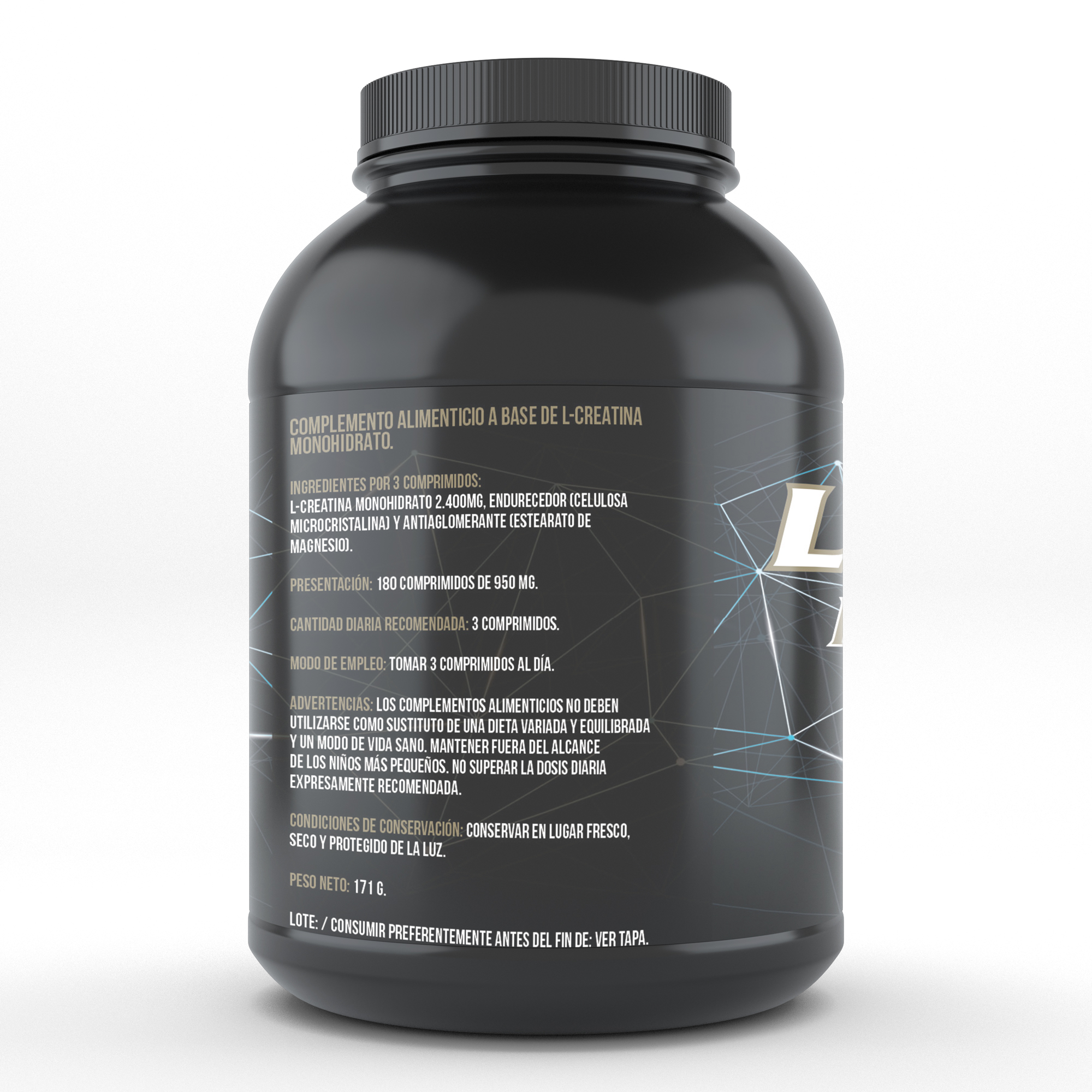 Creatine monohydrate | Sports supplement | Increases the sports performance and the mass | 180 tablets Qualnat 1