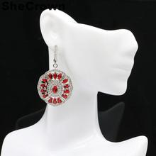 50x28mm 2019 New Designed 12.4g Created Red Blood Ruby White CZ Gift For Woman's Silver Earrings