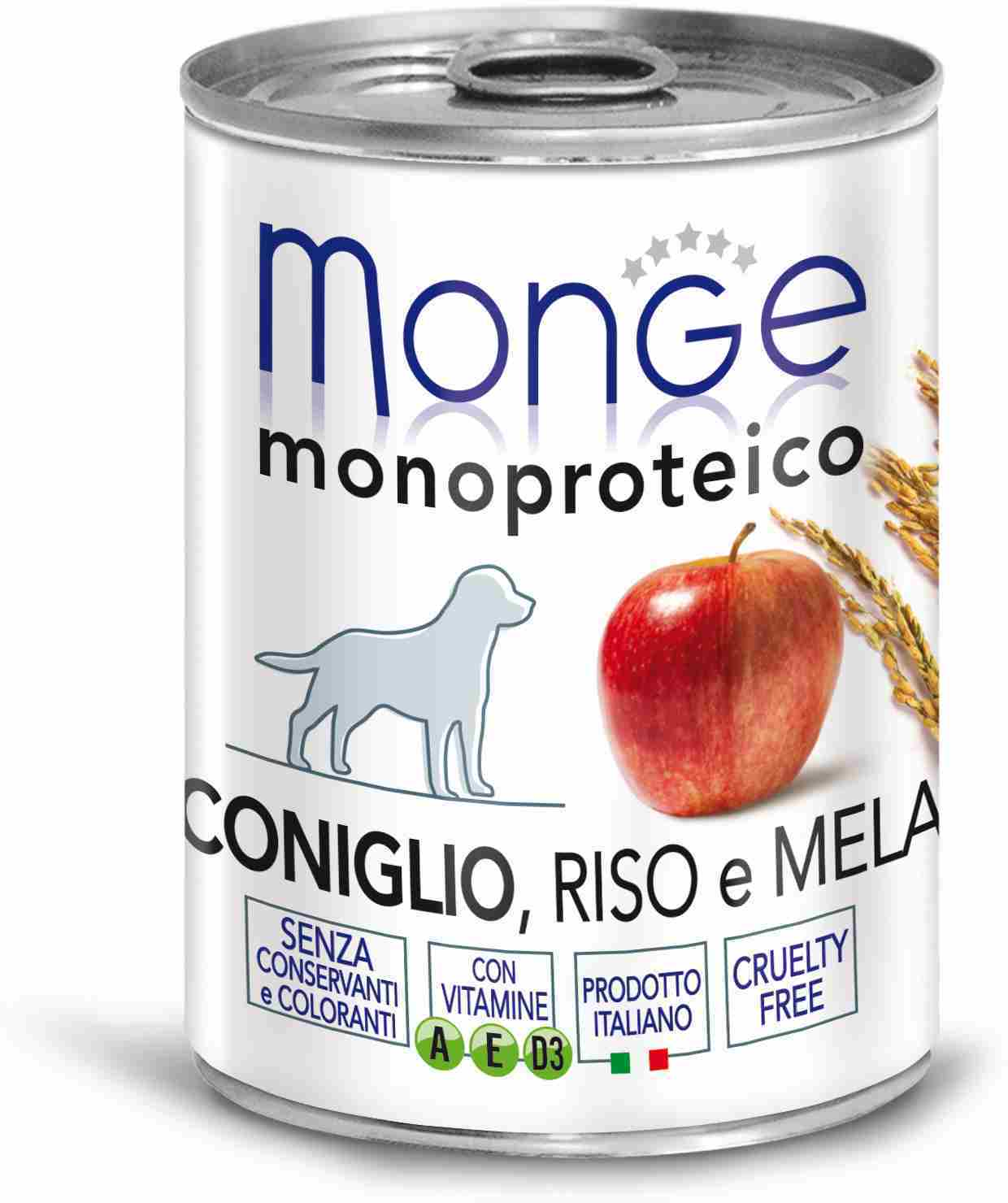 Monge Dog Monoproteico Fruits Canned Dog (паштет), Rabbit, Rice And Apples, 24*400 C.