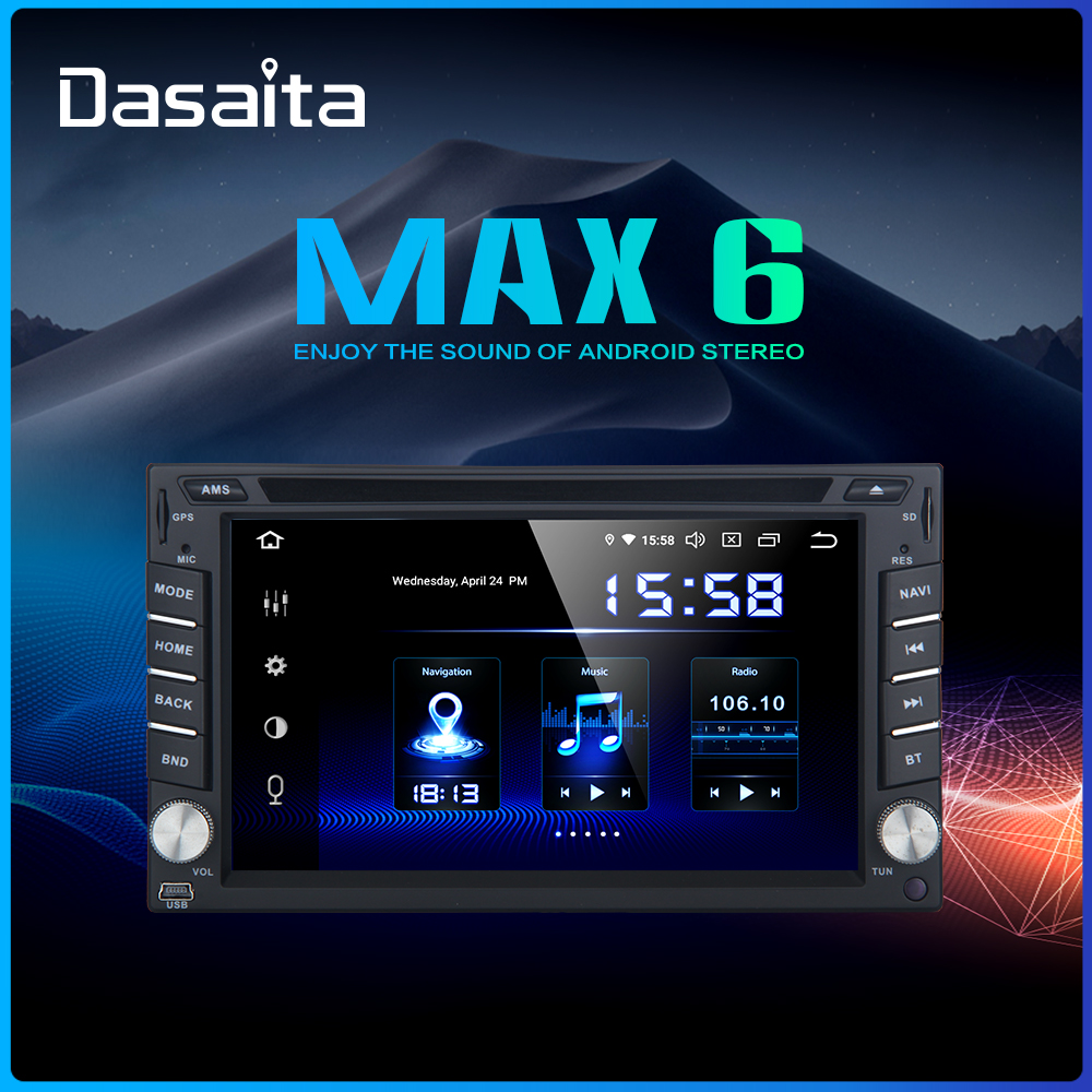 """Dasaita Android 9.0 Universal 2 Din Radio 6.2"""" Touch Screen Car Stereo Multimedia System GPS Navigation DSP"""