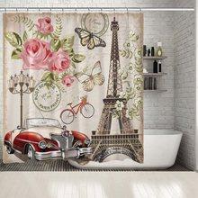 París Torre Eiffel rosas flores bicicleta vintage coche tarjetas postales de mariposas estilo romántico rojo rosa verde ilustraciones ducha cortina