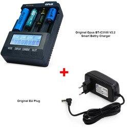 기존 opus BT-C3100 v2.2 스마트 디지털 지능형 4 lcd 슬롯 충전식 배터리 eu/us 플러그 용 범용 배터리 충전기