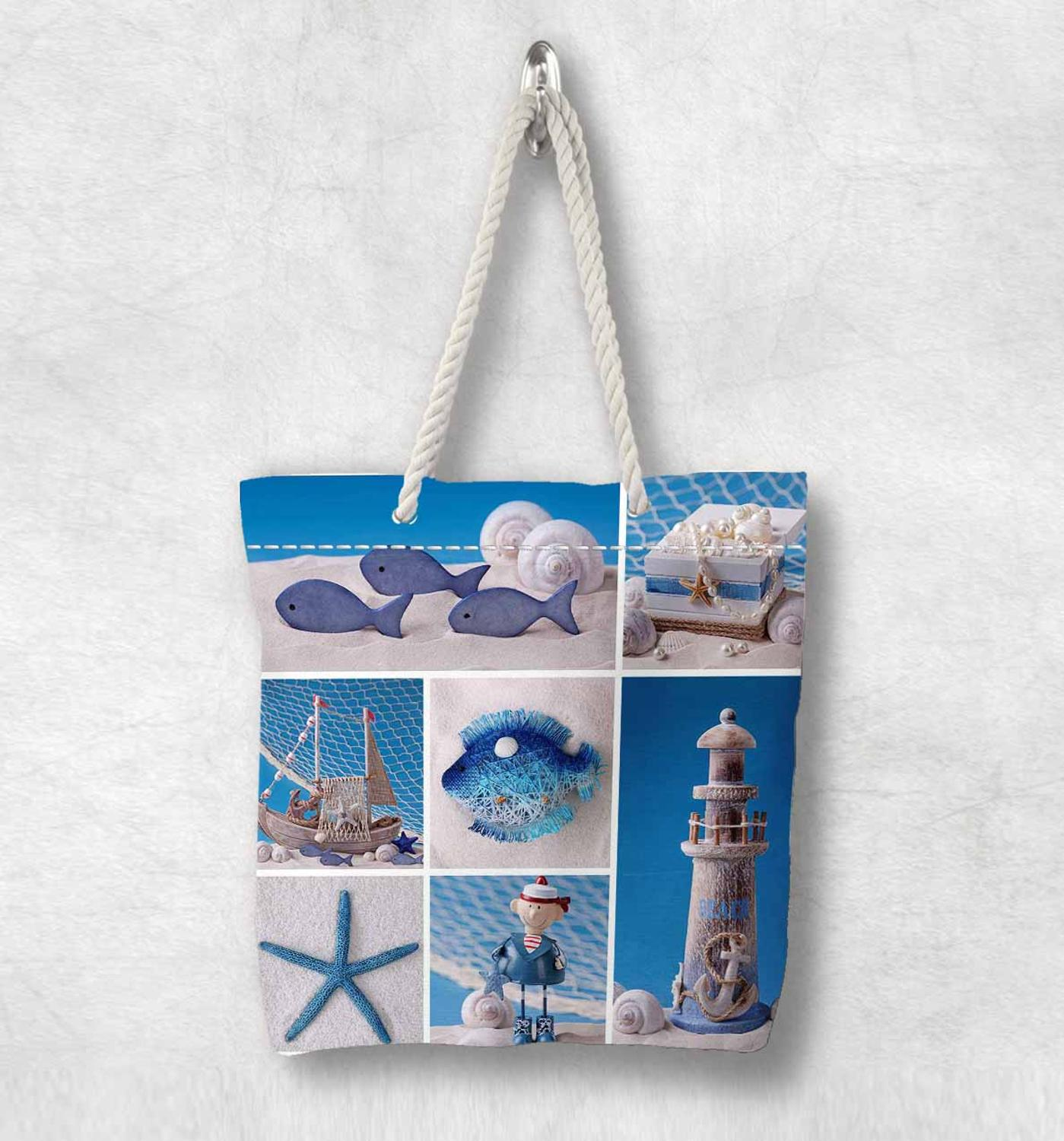 Else Blue Tropical Sea Shells Sea Stars New Fashion White Rope Handle Canvas Bag Cotton Canvas Zippered Tote Bag Shoulder Bag