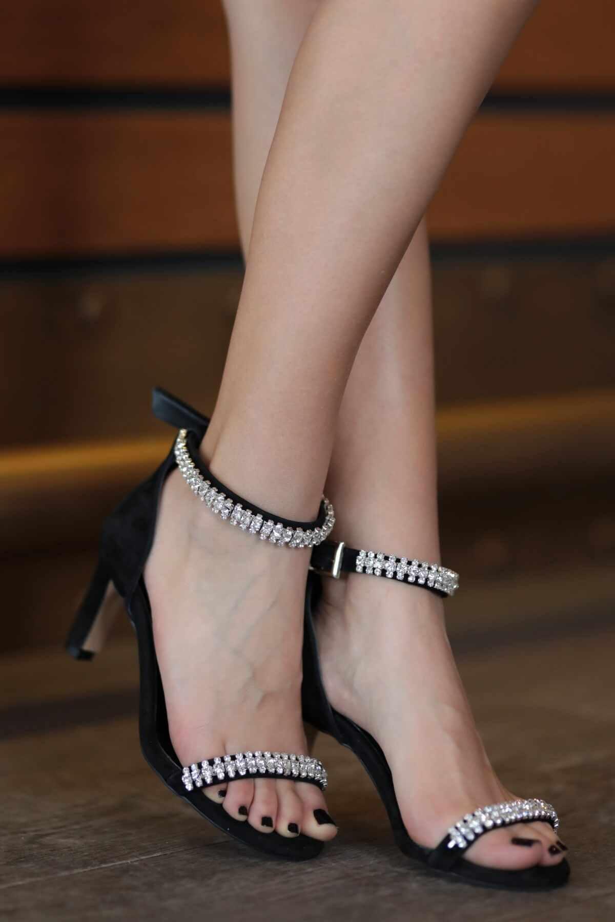 Hakiki Deri Paris Siyah Kısa Topuklu Abiye Ayakkabı Women Pump High Heels Shoes Female Summer Genuine Leather Wedding Party
