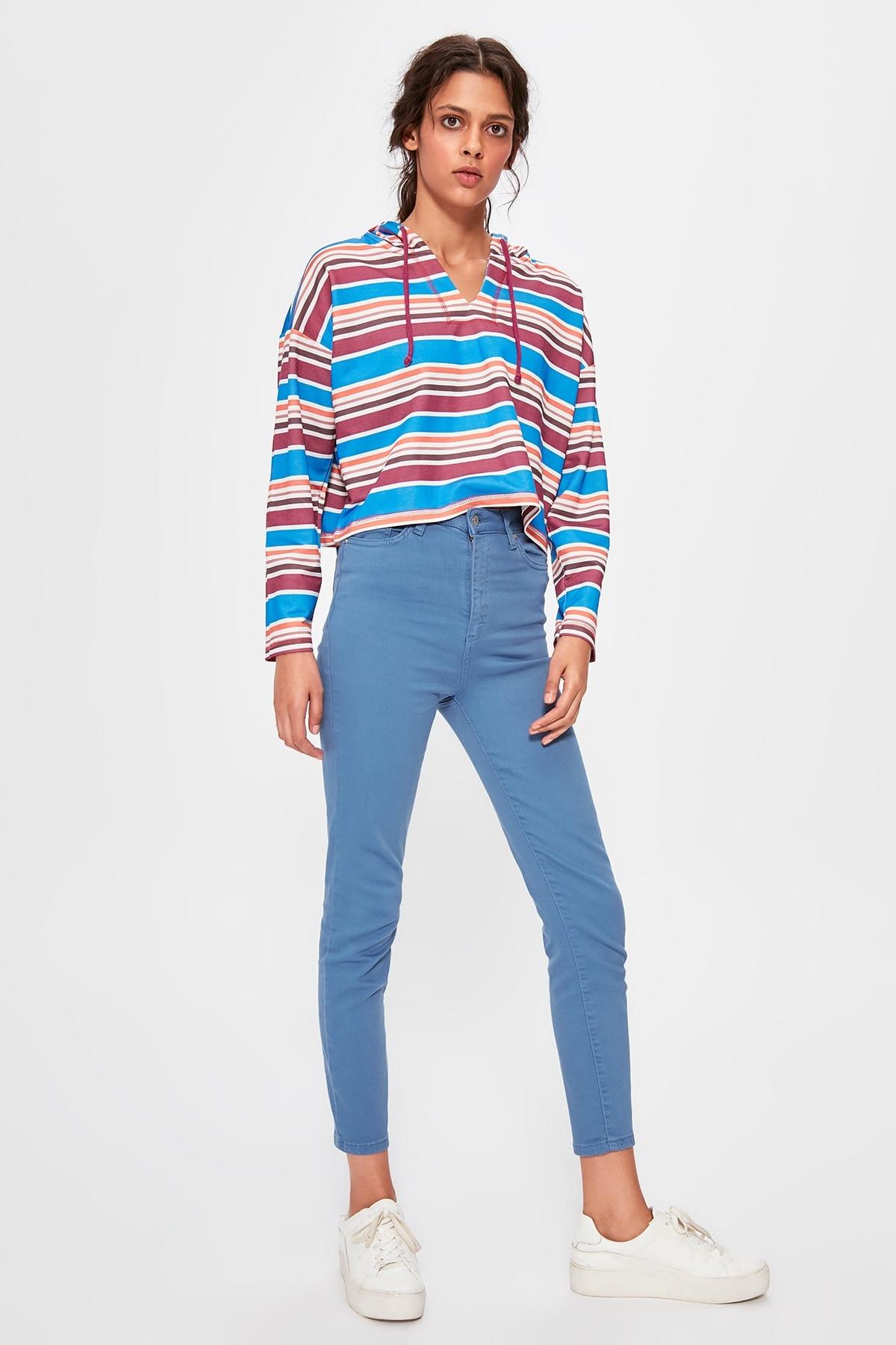 Trendyol Blue High Waist Skinny Jeans TWOAW20JE0245