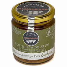 Jar of Piquillo peppers filled with tuna Hueva with organic AOVE 250 grams | Almadraba craftsmen | Gourmet Al