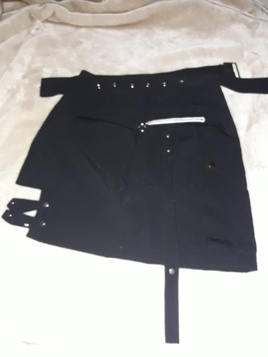 Goth Dark Solid Black Patchwork Hollow Out Skirts For Women Gothic Summer Hole Grunge Eyelet Zipper Skirt Fashion Punk photo review