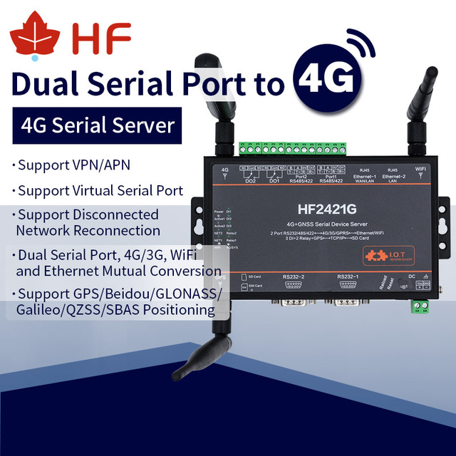High Flying 4G DTU Router HF2421G With GPS GNSS BD Positioning Double Port Serial Device Server 3G GPRS Network Converter