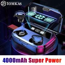 Auriculares TWS, inalámbricos por Bluetooth 9D, auriculares estéreo inalámbricos IPX7, Auriculares deportivos impermeables con pantalla LED