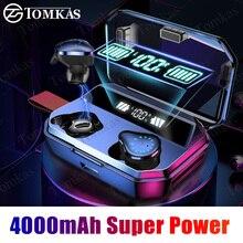TWS 무선 이어폰 블루투스 9D 스테레오 무선 헤드폰 IPX7 방수 스포츠 이어폰 헤드셋 LED 디스플레이 이어폰