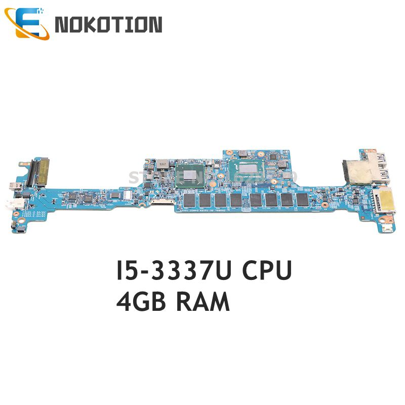 NOKOTION For Acer Aspire S7-391 Laptop Motherboard 48.4WE05.011 NBM3E11003 NB.M3E11.003 I5-3337U CPU 4GB Memory 13 Inch