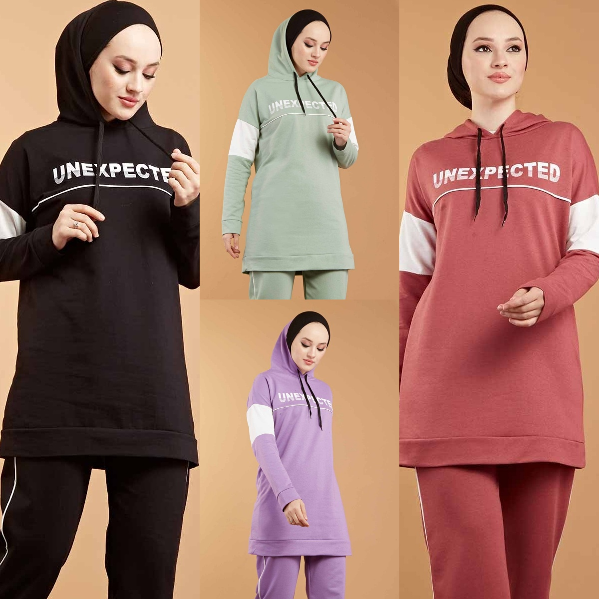 2 pcs Set Hoodies Pantsuit For Women Muslim Fashion Islamic Clothing Hooded Sport Tracksuit Casual Sweatshirt Winter Warm Fleece