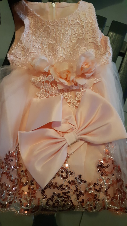 Summer Pink Girls Dress Bow Baby Girl photo review