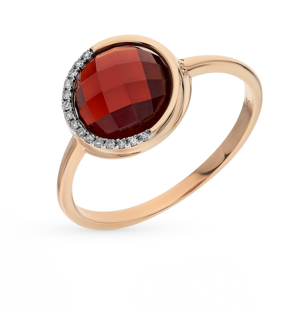Gold Ring With Garnet And Diamond SUNLIGHT Test 585