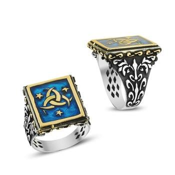 925 Silver Special Deep Blue Design Men Rings