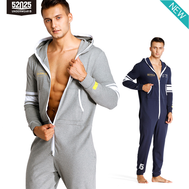 52025 Mens Hooded Jumpsuit One Piece Pajamas Pyjama Cotton Homewear Home Suit Hooded Pajamas Set For Men Onepiece Lounge-Onesie