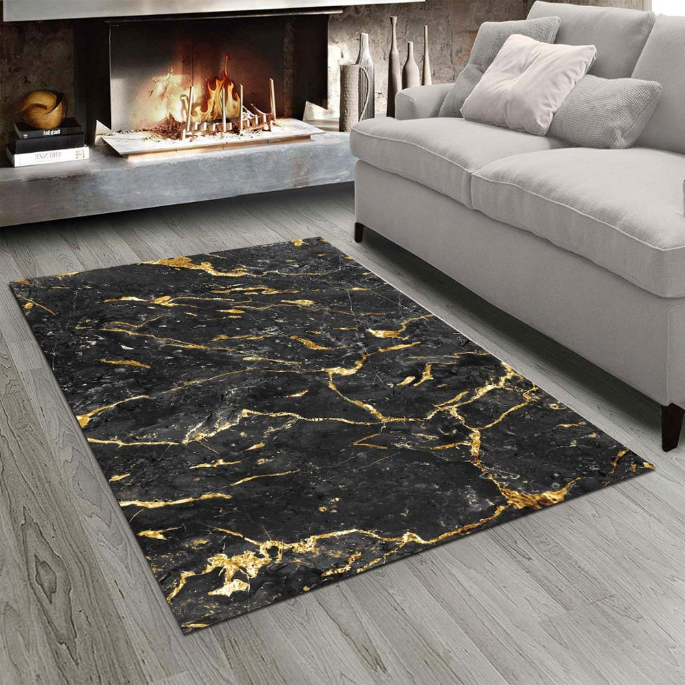 Else Black White Golden Abstract Marble Stones  3d Print Non Slip Microfiber Living Room Modern Carpet Washable Area Rug Mat