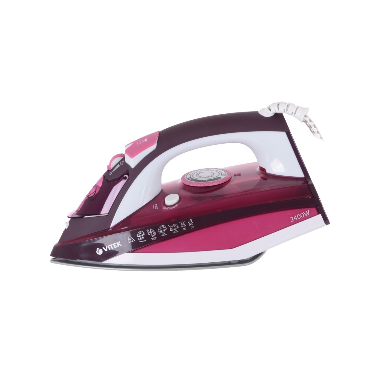 Iron Vitek VT-1215 PK (2400 W Power, steam, self-cleaning system, anti-drip system) утюг vitek vt 1215 pk