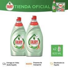 Fairy Aloe Vera & Pepino, 2 Unidades 820 ML, Lavavajillas Líquido, Platos Limpios y Relucientes, Manos Suaves y Protegidas